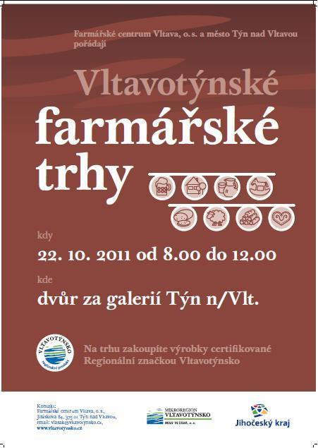 Farmářské trhy se konají v sobotu 22.10.2011 od 8 do 12 hodin